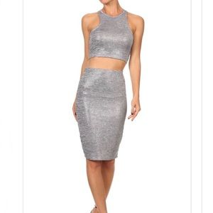TDC   Waynette Metallic 2 Piece Skirt Set